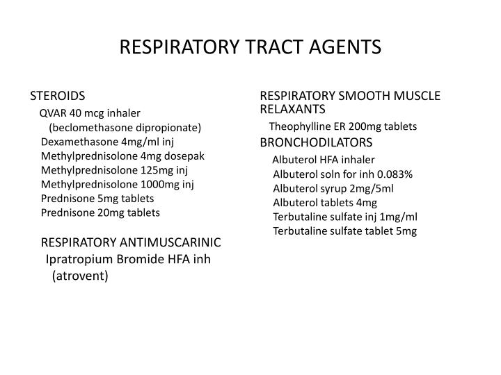 RESPIRATORY TRACT AGENTS