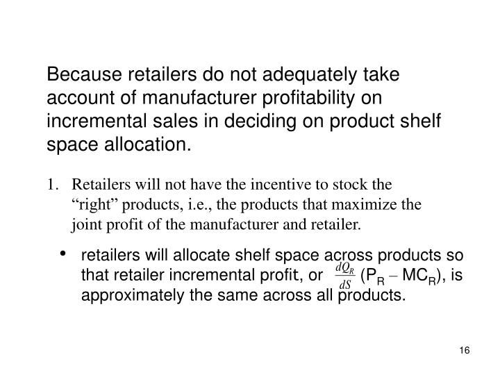 Because retailers do not adequately take account of manufacturer profitability on incremental sales in deciding on product shelf space allocation.
