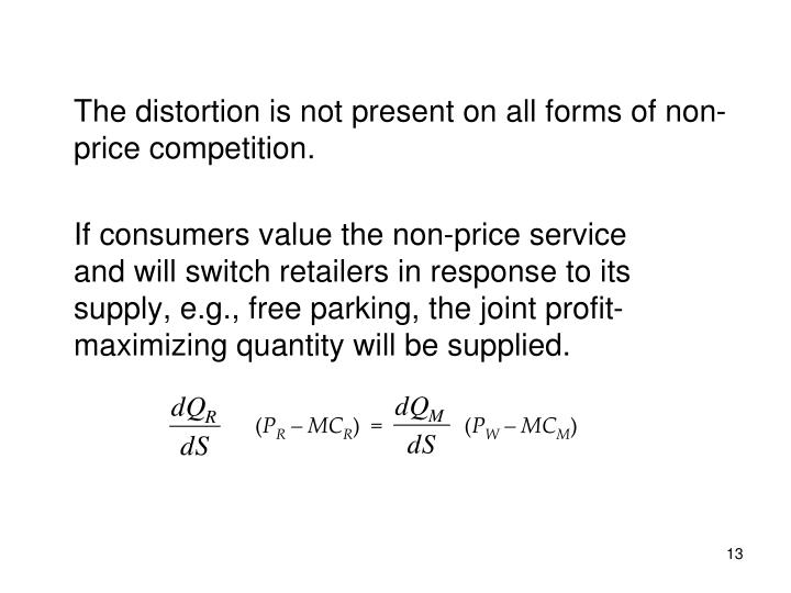 The distortion is not present on all forms of non-price competition.