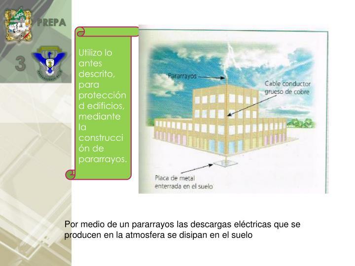 Utilizo lo antes descrito, para protección d edificios, mediante la construcción de pararrayos.