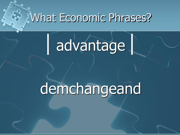 What Economic Phrases?