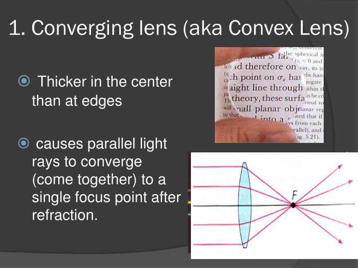 1. Converging lens (aka Convex Lens)