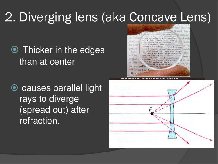 2. Diverging lens (aka Concave Lens)