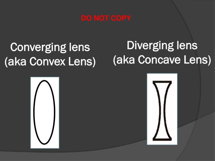 Converging lens (aka Convex Lens)