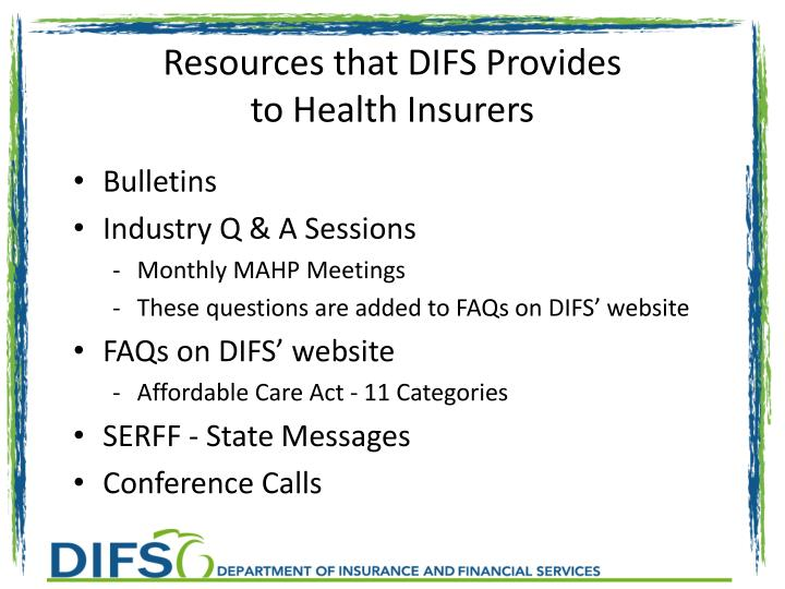Resources that DIFS Provides