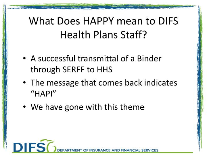 What Does HAPPY mean to DIFS Health Plans Staff?
