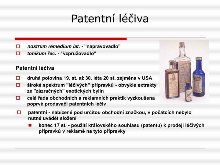Patentní léčiva