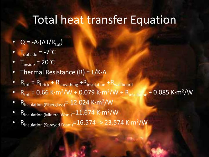 Total heat transfer Equation