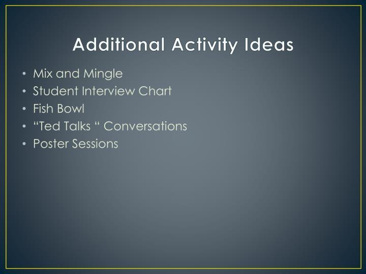 Additional Activity Ideas