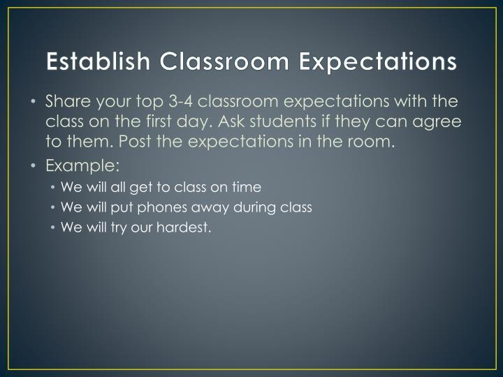 Establish Classroom Expectations