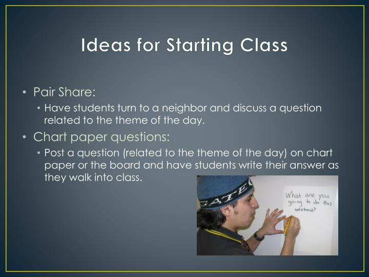Ideas for Starting Class