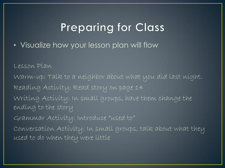 Preparing for Class