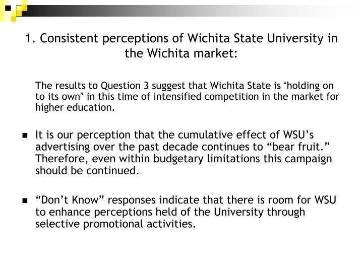 1. Consistent perceptions of Wichita State University in the Wichita market: