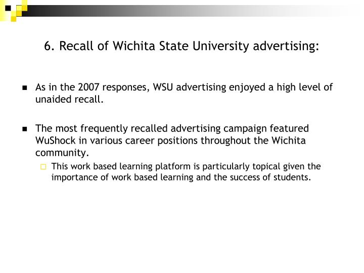 6. Recall of Wichita State University advertising: