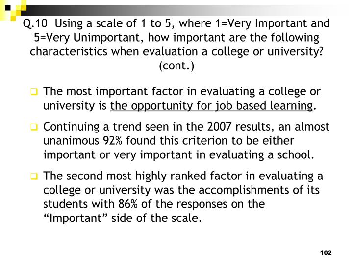 Q.10  Using a scale of 1 to 5, where 1=Very Important and 5=Very Unimportant, how important are the following characteristics when evaluation a college or university? (cont.)