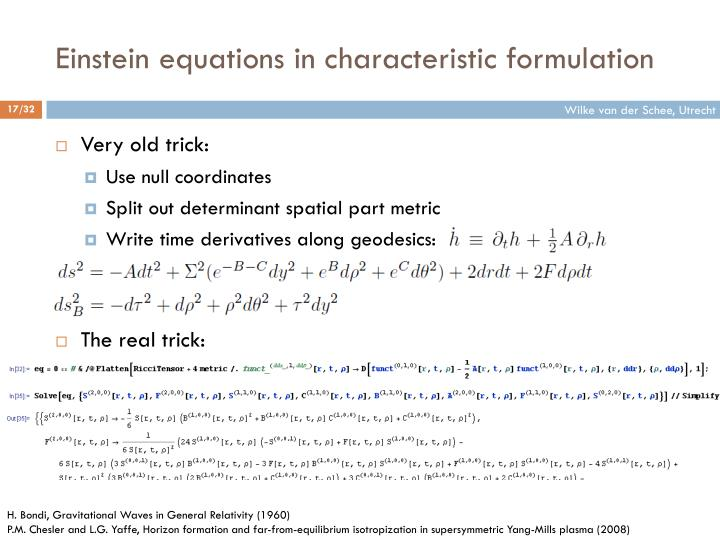 Einstein equations in characteristic formulation