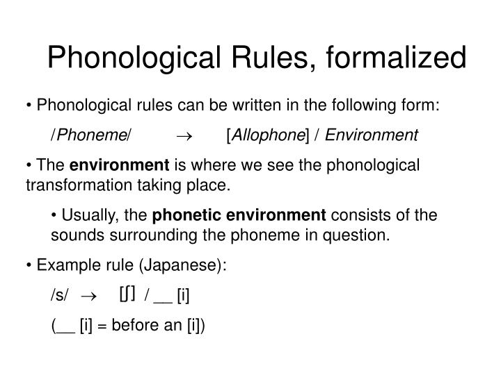 Phonological Rules, formalized