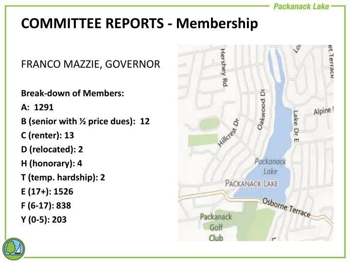 COMMITTEE REPORTS - Membership