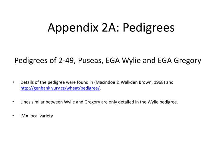Pedigrees of 2 49 puseas ega wylie and ega gregory
