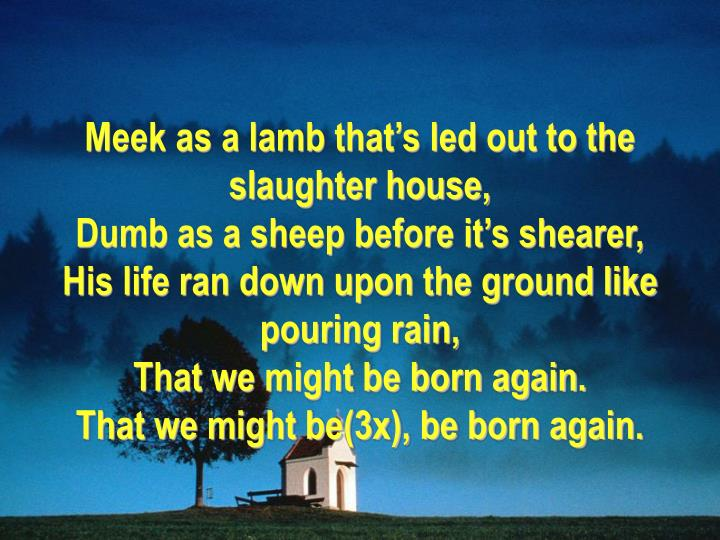 Meek as a lamb that's led out to the slaughter house,