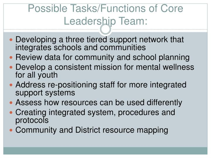 Possible Tasks/Functions of Core  Leadership Team: