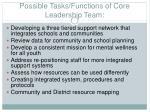 possible tasks functions of core leadership team