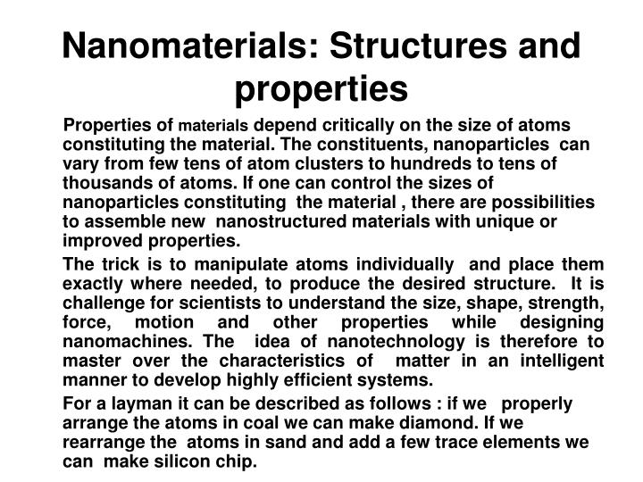 Nanomaterials: Structures and properties