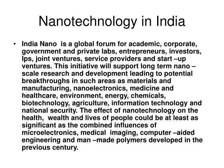 Nanotechnology in India