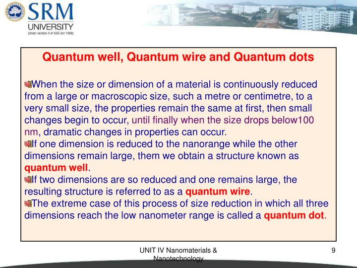Quantum well, Quantum wire and Quantum dots
