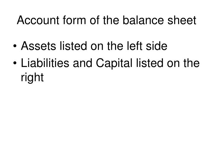 Account form of the balance sheet