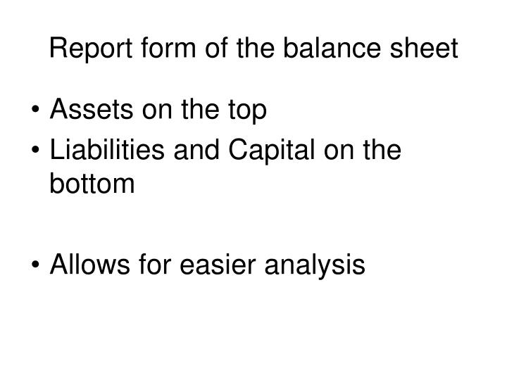 Report form of the balance sheet