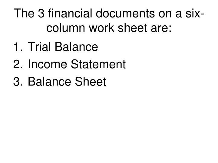 The 3 financial documents on a six-column work sheet are: