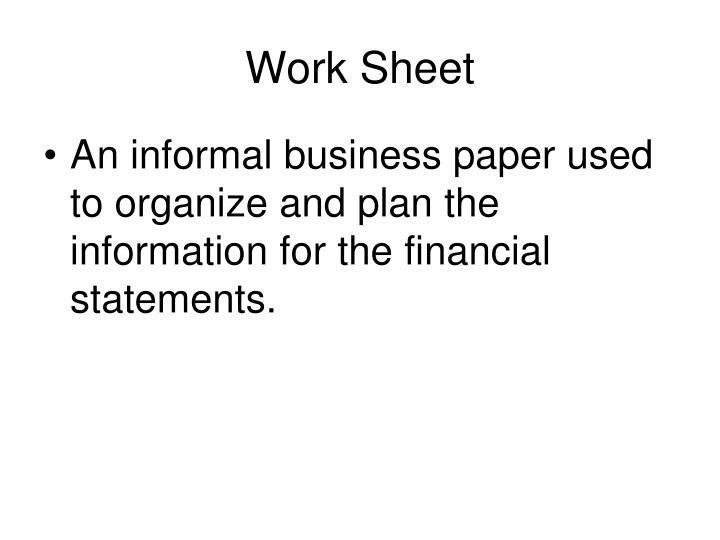 Work Sheet