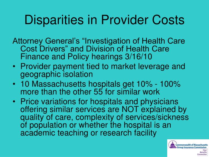 Disparities in Provider Costs