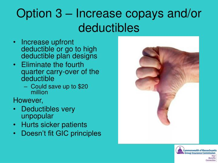 Option 3 – Increase copays and/or deductibles