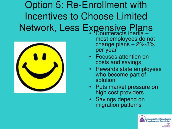 Option 5: Re-Enrollment with Incentives to Choose Limited Network, Less Expensive Plans