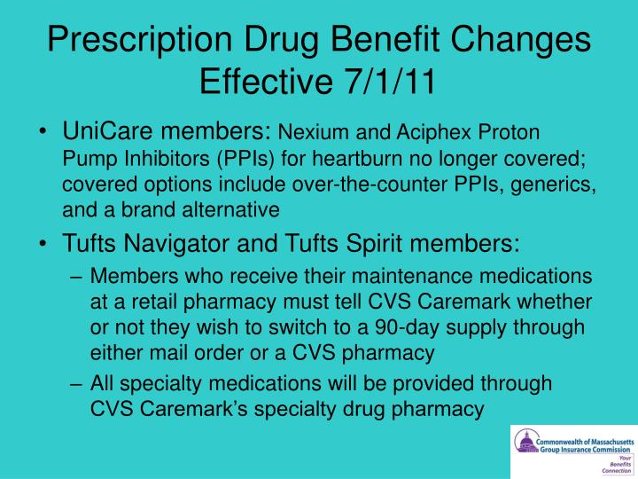 Prescription Drug Benefit Changes Effective 7/1/11