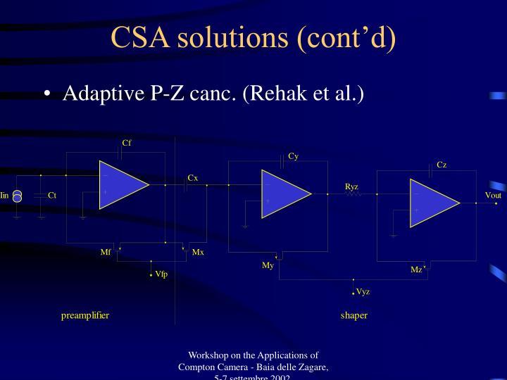 CSA solutions (cont'd)