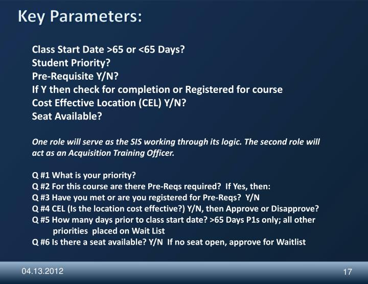 Key Parameters: