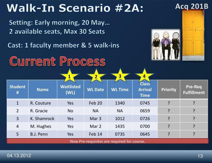 Walk-In Scenario #2A: