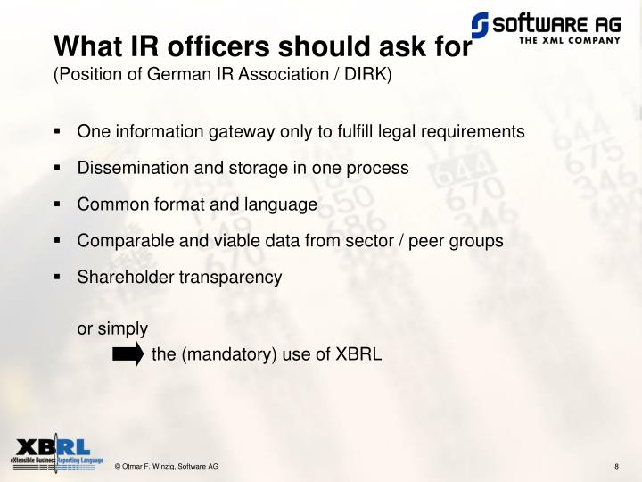 What IR officers should ask for