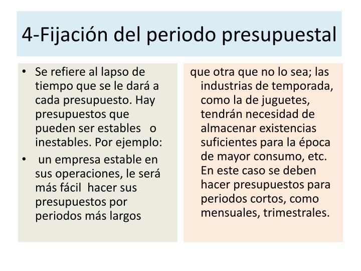 4-Fijación del periodo presupuestal