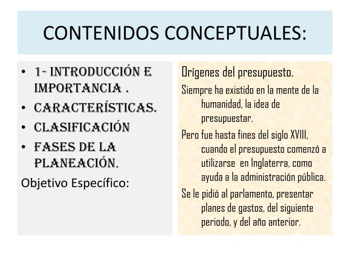 CONTENIDOS CONCEPTUALES: