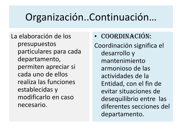 Organización..Continuación…