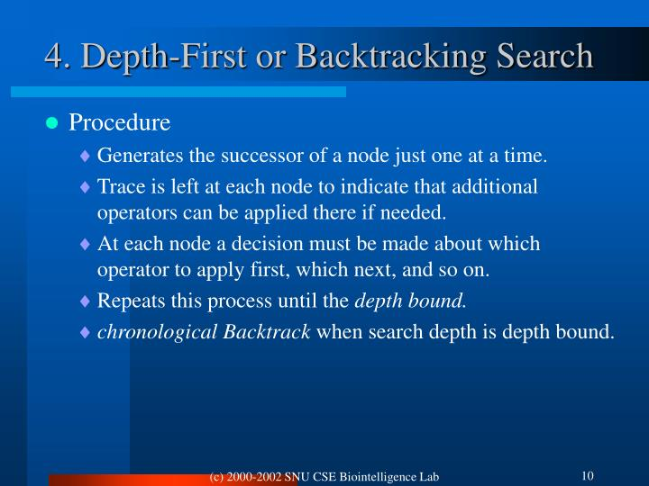 4. Depth-First or Backtracking Search