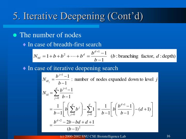 5. Iterative Deepening (Cont'd)