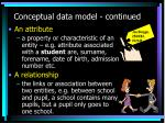 conceptual data model continued