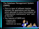 the database management system dbms