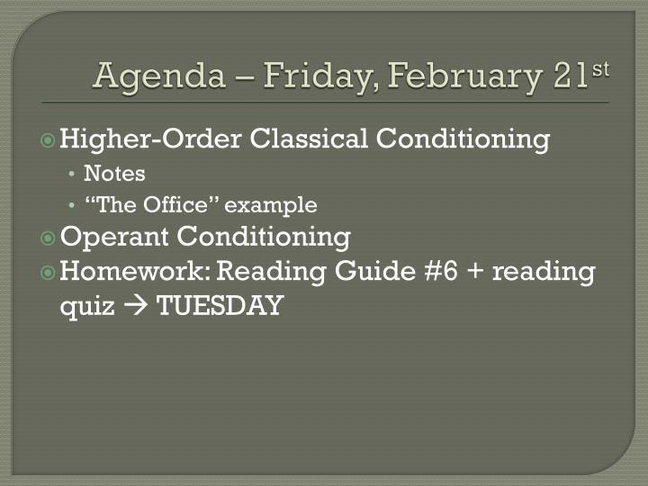 Agenda – Friday, February 21