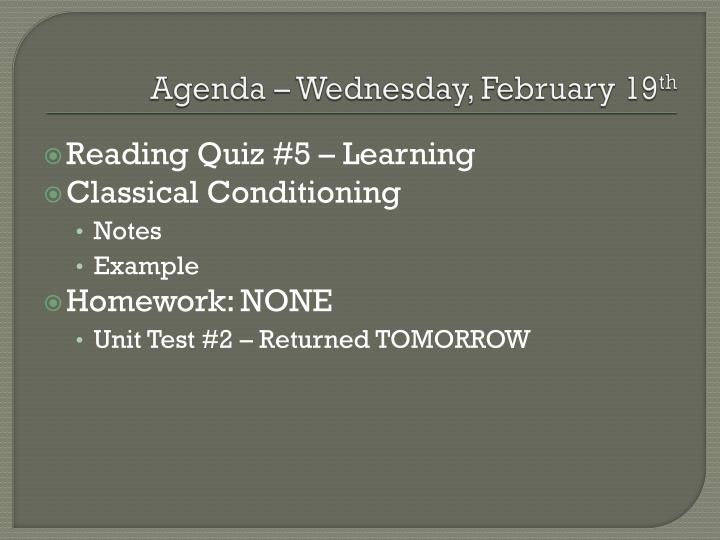Agenda wednesday february 19 th